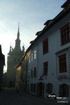 Turnul cu ceas - vedere din cetate la prima oră - Cetatea Medievală a Sighișoarei