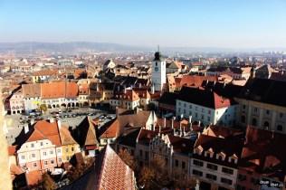 Vedere de sus spre centrul Sibiului