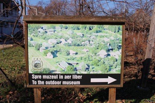 Vedere cu muzeul satului