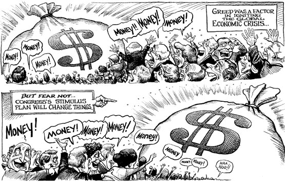 Money makes the world go round ... (Illustration by KAL | Feb 5th 2009 | Source and courtesy - economist.com). Click for a larger image.