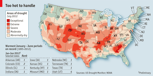 USDA map of US drought 2012