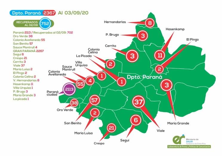 Casos en el departamento Paraná