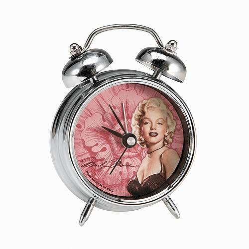 Marilyn Monroe 2007 Jeweled Twin Chrome Bell Metal Alarm Clock Vandor NIB HTF