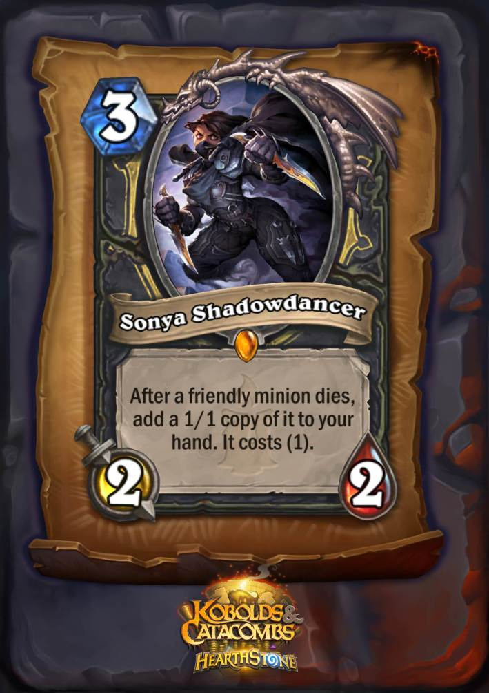 Sonya Shadowdancer, one of the new Hearthstone legendaries in Kobolds and Catacombs, is a three mana 2/2 Rogue minion. The card text reads: