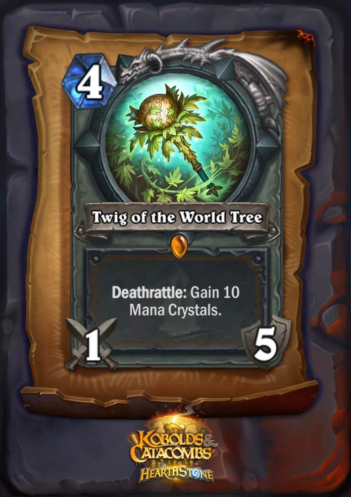 Twig of the World Tree, one of the new Hearthstone legendaries in Kobolds and Catacombs, is a four mana 1/5 Druid weapon. The card text reads: