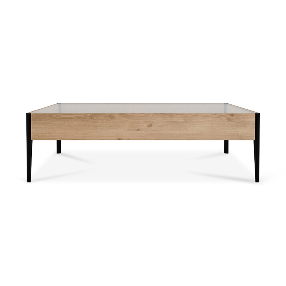 oak thin coffee table 80 x 80 cm