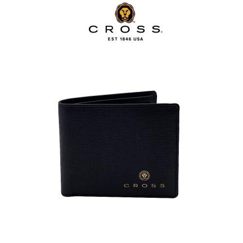 [CROSS] 限量2折 頂級NAPPA小牛皮十字紋4卡1零錢袋男用皮夾 全新專櫃展示品(黑色 威廉系列)
