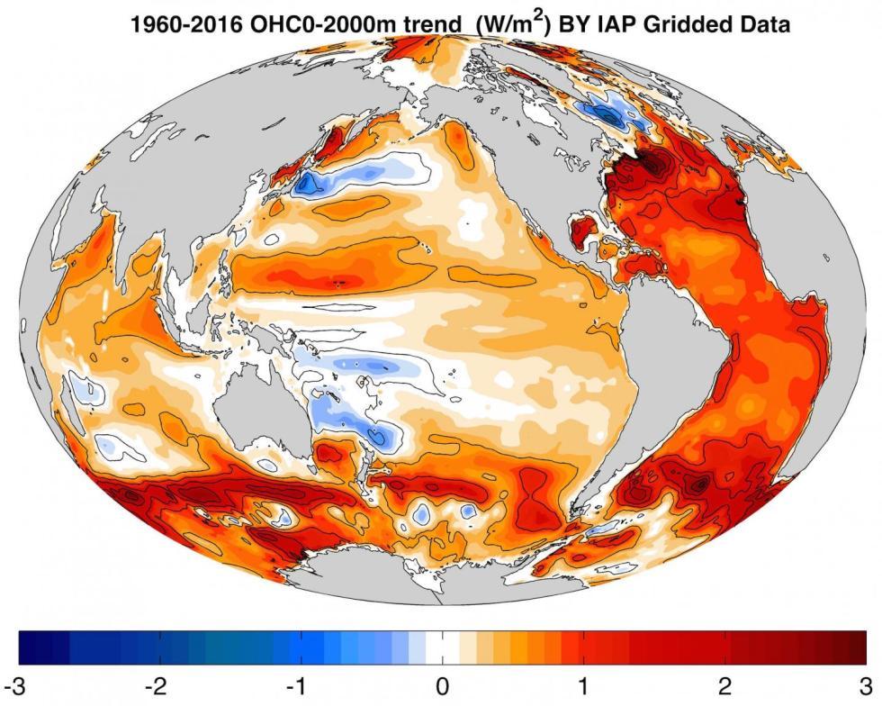 A imagem mostra a taxa de aquecimento dos oceanos (Tendência de 0-2000m de calor do oceano) de 1960 a 2016 em unidade de W / m2, calculada pelos dados IAP Gridded. CRÉDITO: CHENG Lijing