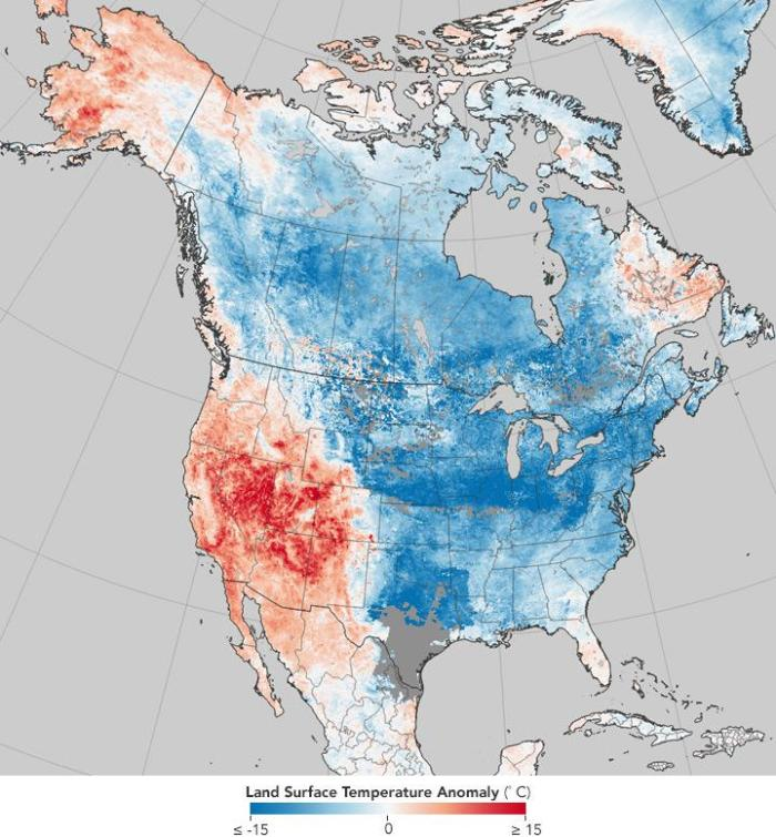 North American surface temperatures for Dec. 26, 2017-Jan. 2, 2018: even if it is extremely cold in a region, this does not mean that climate change has stopped.  Credit: Source: NASA Earth Observatory, ETH Zurich