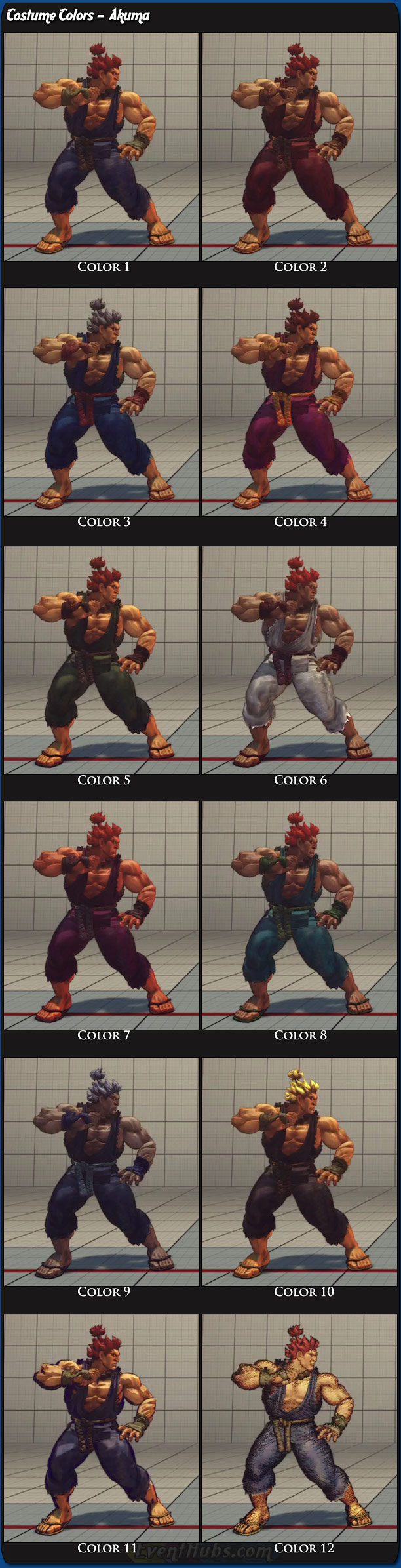 Costume And Alternative Outfit Colors For Akuma Gouki In