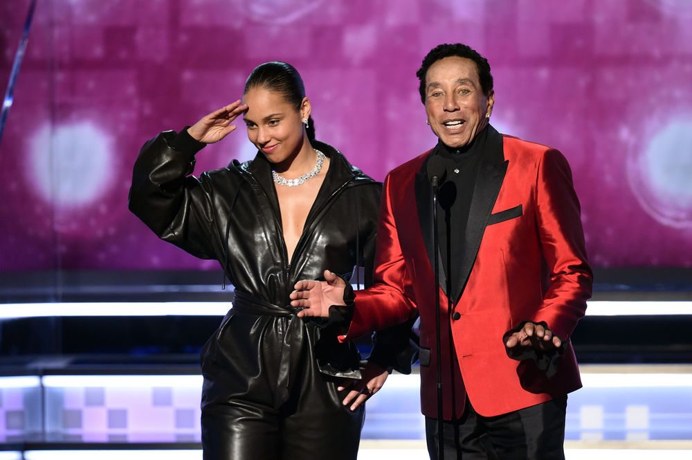 Alicia Keys (L) and Smokey Robinson perform onstage during the 61st Annual GRAMMY Awards