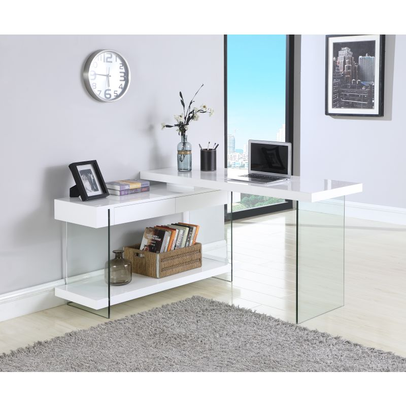 Chintaly Imports Rotatable Gloss White Wooden Desk with 2 ... on Corner Sconce Shelf Tray id=50891