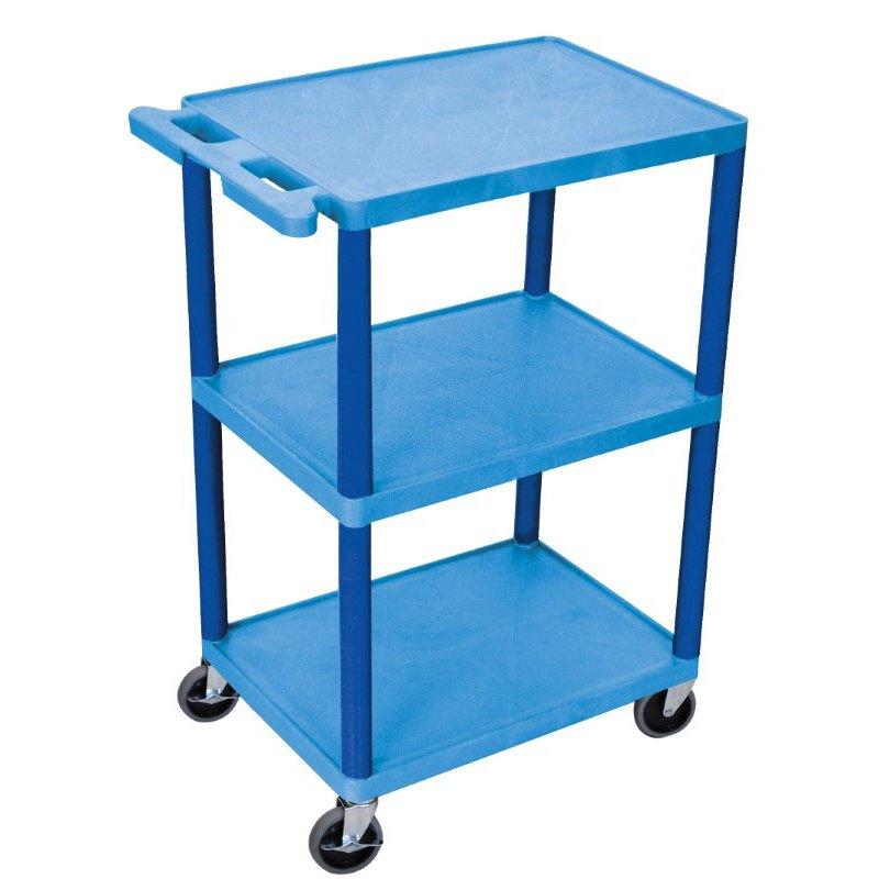 Luxor 3 Shelf Utility Cart Blue (HE42-BU) on Corner Sconce Shelf Tray id=11538
