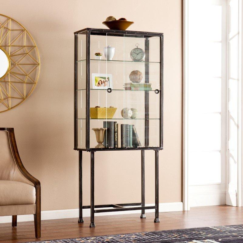 Southern Enterprises Metal/Glass Sliding-Door Display Cabinet on Corner Sconce Shelf Cabinet id=45580