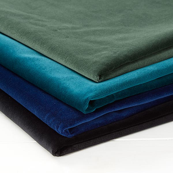 tissu de decoration velours de coton bleu roi
