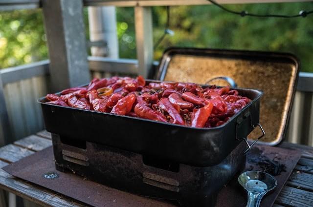 Chili frukter i fiskrök Farbror Grön