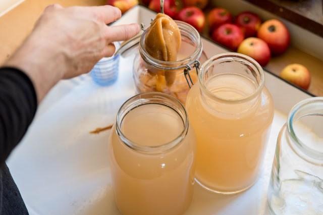 Vinägermammor tillsätts för att omvandla vätskans alkohol till ättikssyra Farbror Grön