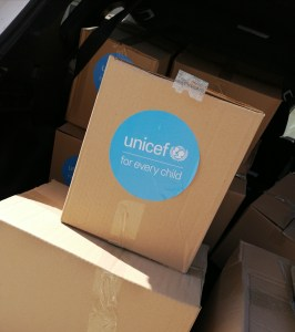 Supporting delivery of the hygienic packages donated  by UNICEF
