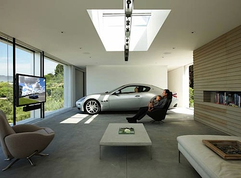 luxury garage with owner