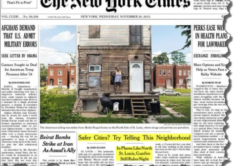 New York Times Cover Page November 20 2013