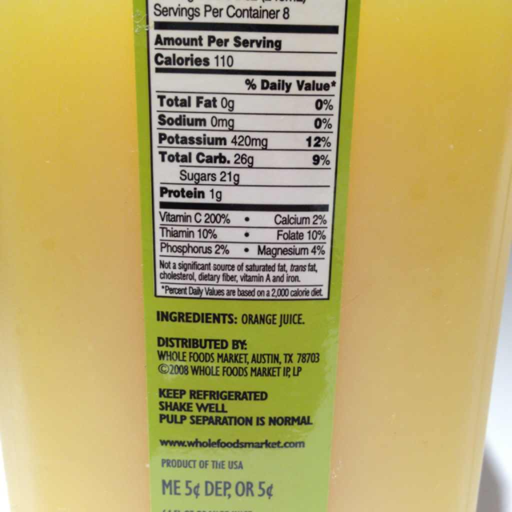 Calories Orange Juice Concentrate