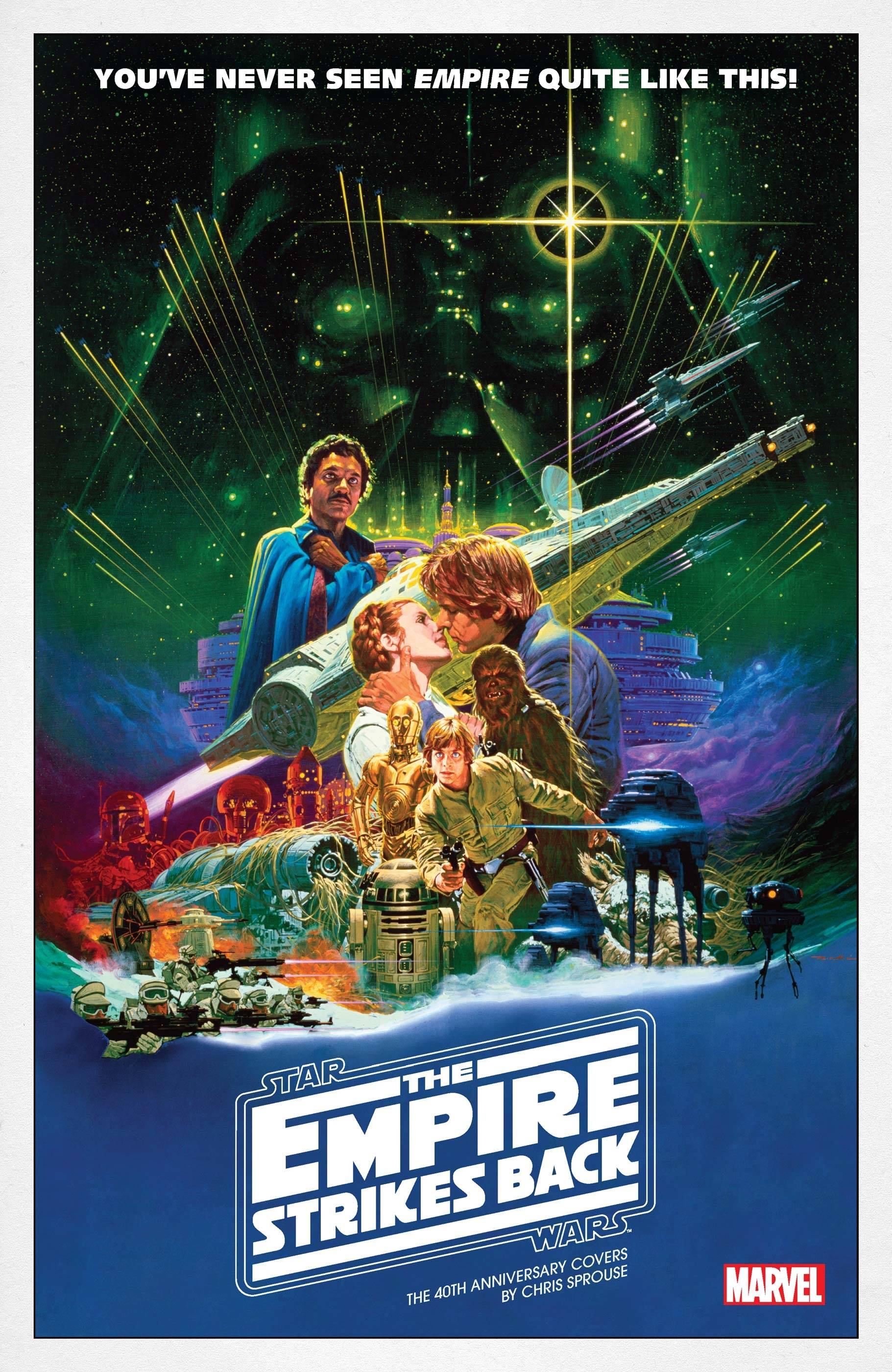 star wars the empire strikes back 1 40th anniversary cover sprouse movie poster variant