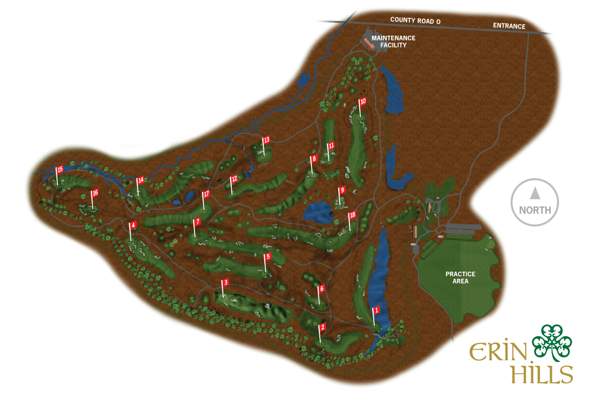 Erin Hills,US Open, Course Map