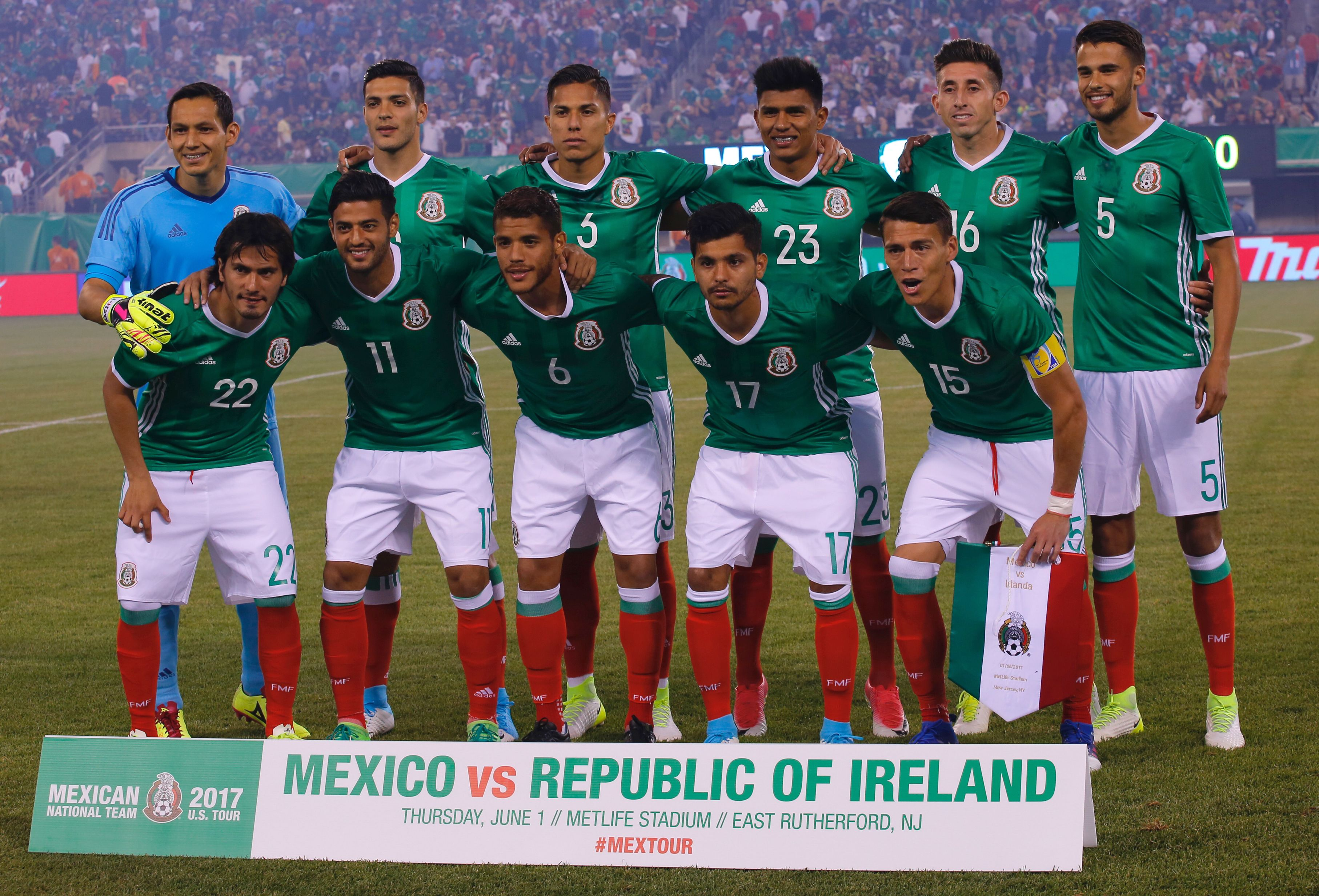 The national soccer team from Mexico poses for a photo before the friendly match between Mexico and the Republic of Ireland on June 1, 2017
