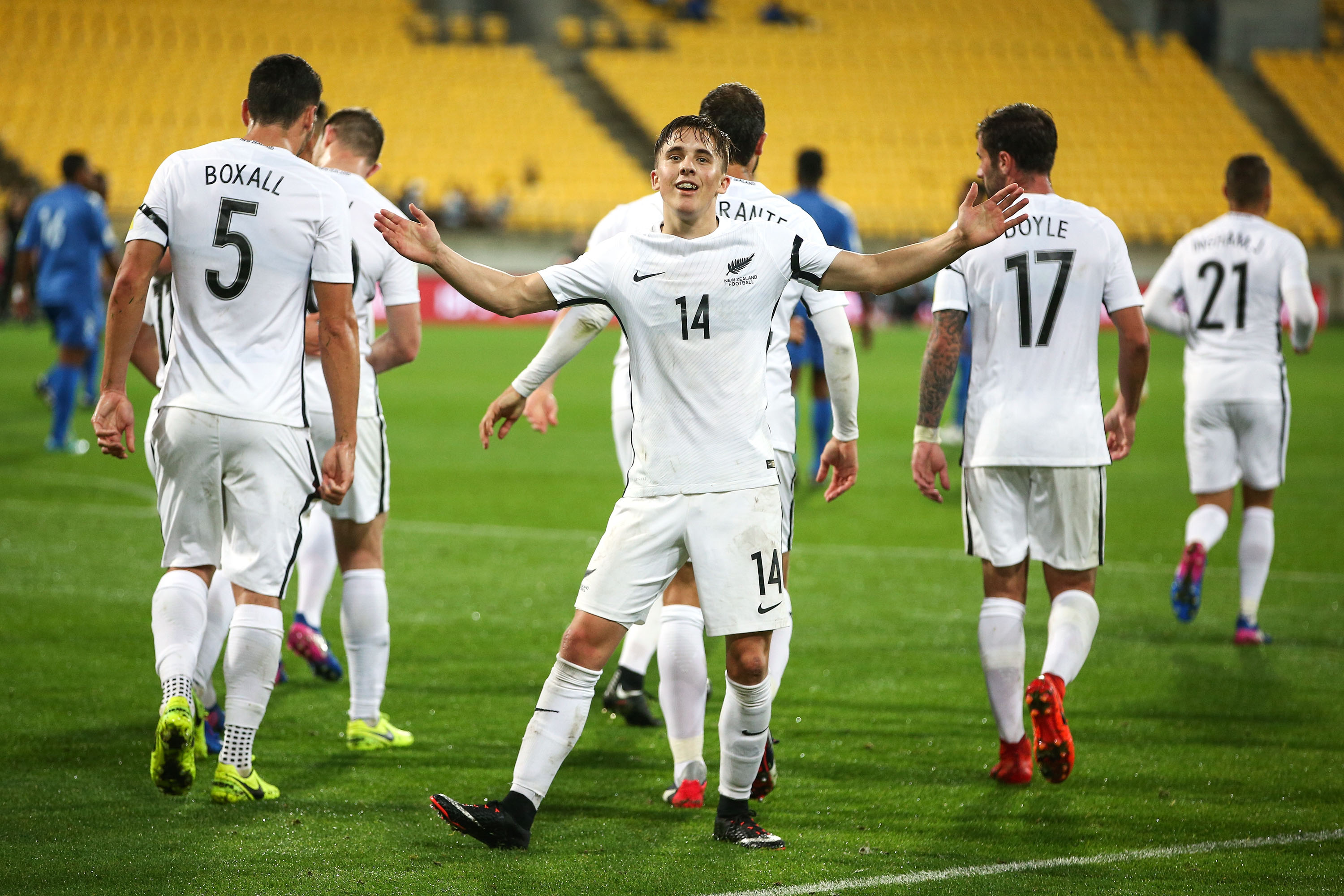 Ryan Thomas of New Zealand celebrates after scoring a goal during the 2018 FIFA World Cup Qualifier