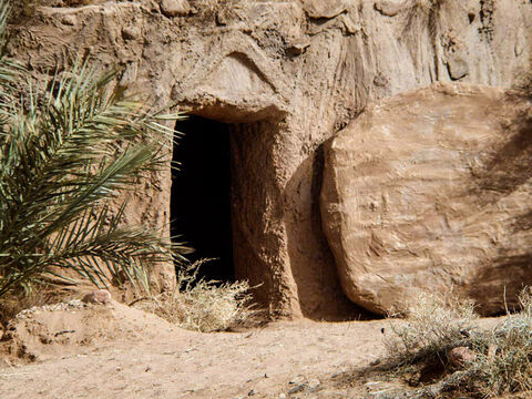 When they arrived they found the large stone rolled away from the tomb. (There had been a violent earthquake and an angel of the Lord had descended and rolled it back. The guards were so frightened and shaken they had run off). – Slide 2