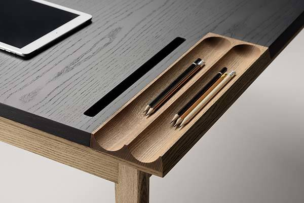 Ollly Wooden Desk With Compact Drawer Integrated Phone Tablet Stands And Desk Organizer