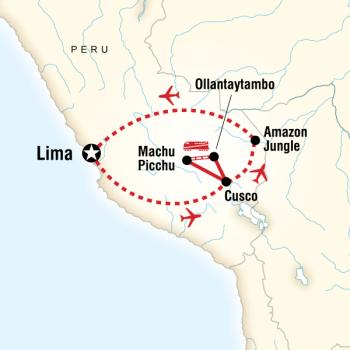 Mapa do percurso da Jornada Inca