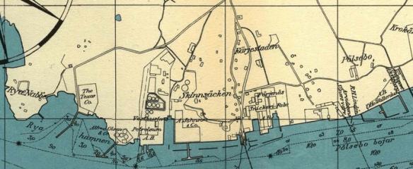 Pölsebo, Färjestaden, Oljenäset och Ryahamnen 1932