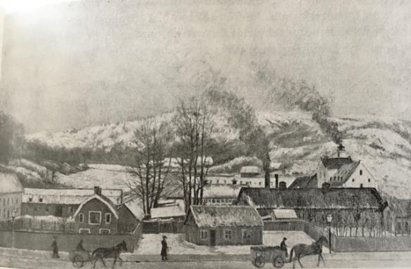 Emeliedals bryggeri med Lyckholms bryggeri bakom till höger.