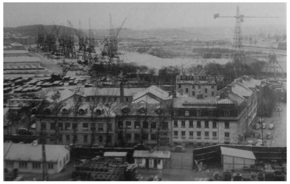 De sista bostadshusen i Hisingstad år 1959