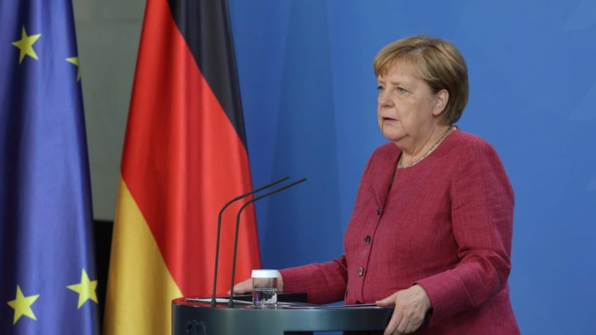 German Chancellor Angela Merkel speaks to the media about the situation in Afghanistan on August 24, 2021.
