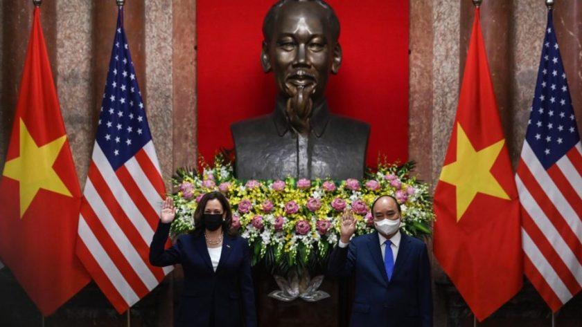 US Vice President Kamala Harris and Vietnam President Nguyen Xuan Phuc at the Presidential Palace in Hanoi, Vietnam, Aug 25