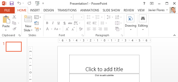 Captura de pantalla de PowerPoint 2013