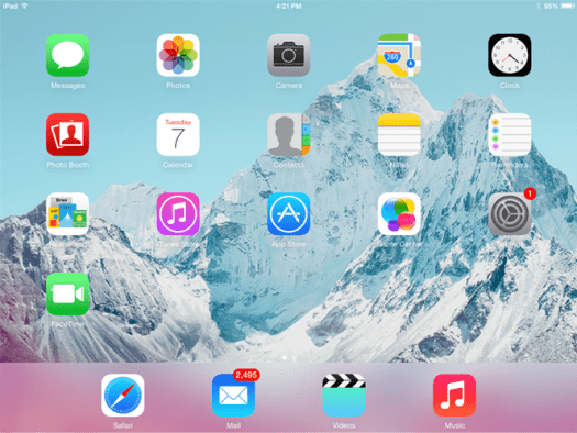 screenshot of Apple iOS running on iPad