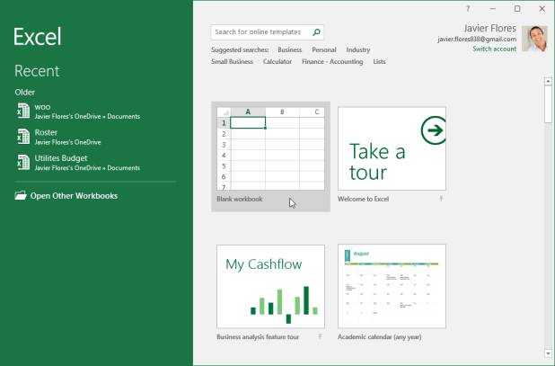 The Excel Start screen