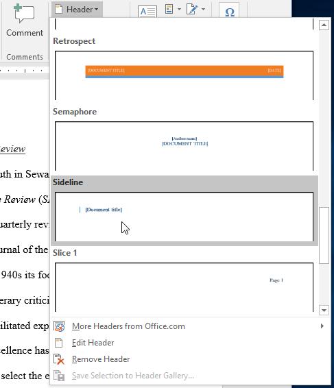Selecting a preset header