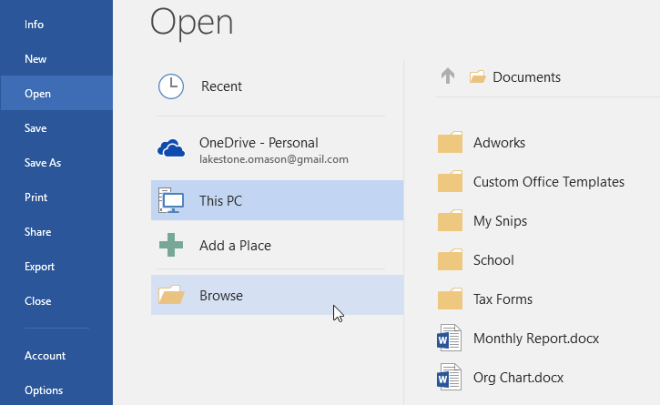 selecting Browse to look for a file to open - www.office.com/setup