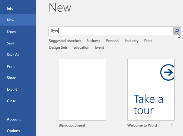 searching for a specific template - www.office.com/setup