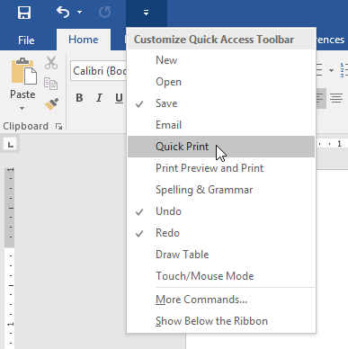 adding the Quick Print command to the Quick Access Toolbar - www.office.com/setup