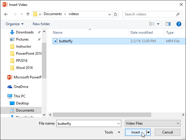 Selecting a video to insert - www.office.com/setup