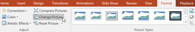 Clicking the Change Picture command - www.office.com/setup