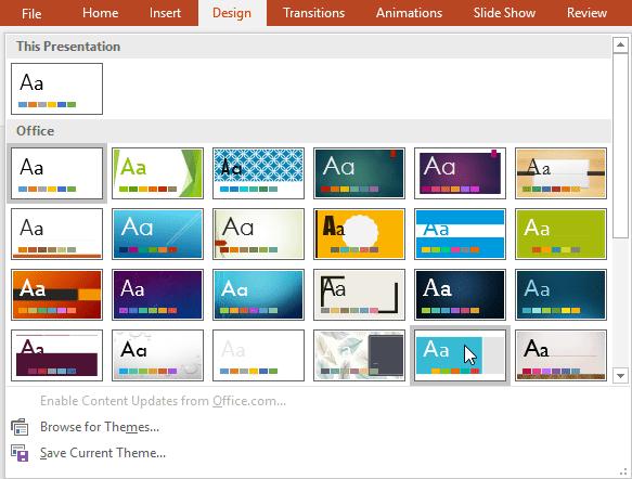 Selecting a theme - www.office.com/setup