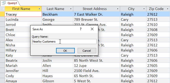 Naming the new query to save it