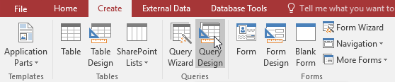 Clicking the Query Design Command