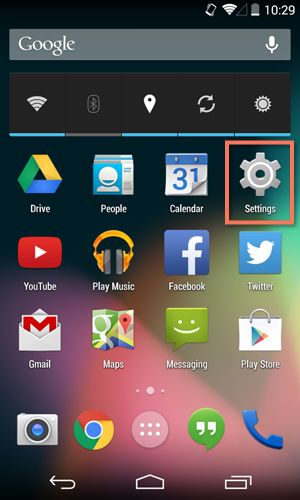 opening the settings app on an Android device